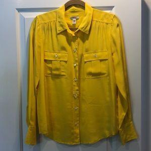 JCrew Yellow Silk Button Down